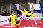 (L-R) Hirokazu Kobayashi, Yuki Sato (JPN),<br /> AUGUST 24, 2018 - Sepak takraw : <br /> Men's Doubles Preliminary match between Japan - Philippines<br /> at Jakabaring Sport Center Ranau Hall <br /> during the 2018 Jakarta Palembang Asian Games <br /> in Palembang, Indonesia. <br /> (Photo by Yohei Osada/AFLO SPORT)