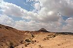Israel, Wadi Masor in the Arava. Mount Masor in the distance
