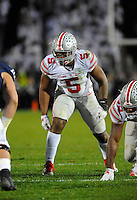 22 October 2016:  Ohio State LB Raekwon McMillan (5) drops into coverage. The Penn State Nittany Lions upset the #2 ranked Ohio State Buckeyes 24-21 at Beaver Stadium in State College, PA. (Photo by Randy Litzinger/Icon Sportswire)