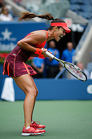 Ana Ivanovic of Serbian celebrates after winning the second set against Dominika Cibulkova of Slovak during their match at the Arthur Ashe stadium during the US Open 2015 Tennis Tournament in New York. 08.31.2015.  Eduardo MunozAlvarez/VIEWpress.