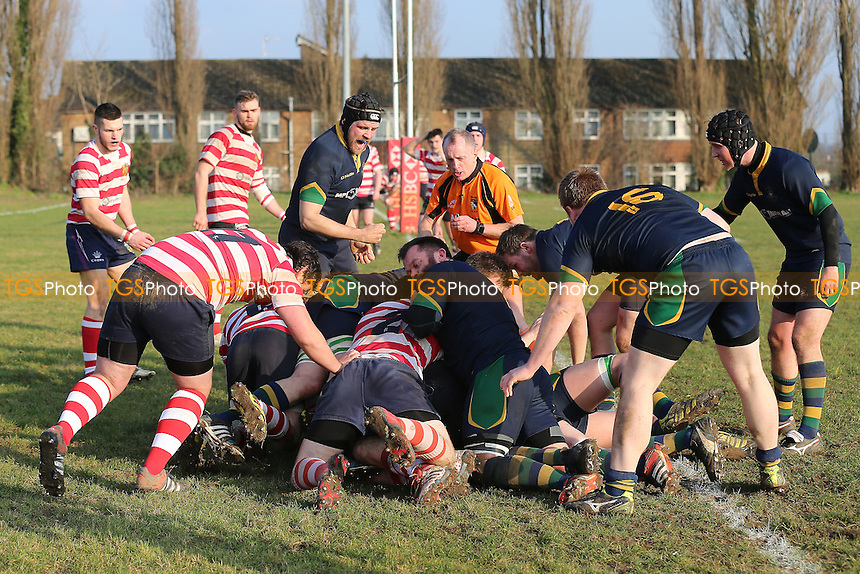 Kilburn score their first try during Finchley RFC (red/white) vs Kilburn Cosmos RFC, London 3 North West Division Rugby Union at Summers Lane on 18th February 2017