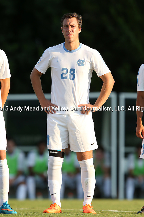 14 August 2015: North Carolina's Alex Olofson. The University of North Carolina Tar Heels hosted the Winthrop University Eagles at Fetzer Field in Chapel Hill, NC in a 2015 NCAA Division I Men's Soccer preseason exhibition. North Carolina won the game 4-1.