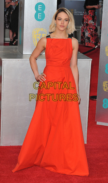 Jessica Brown Findlay at the EE British Academy Film Awards (BAFTAs) 2017, Royal Albert Hall, Kensington Gore, London, England, UK, on Sunday 12 February 2017.<br /> CAP/CAN<br /> &copy;CAN/Capital Pictures