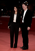 La sindaca di Roma Virginia Raggi (s) e Luca Bergamo (d) posano sul red carpet di apertura della 12° edizione della Festa del Cinema di Roma, 26 ottobre 2017.<br /> Virginia Raggi (l), Major of Rome, and Luca Bergamo (d) pose on the 12th Rome Film Festival opening red carpet in Rome, October 26, 2017.<br /> UPDATE IMAGES PRESS/Isabella Bonotto