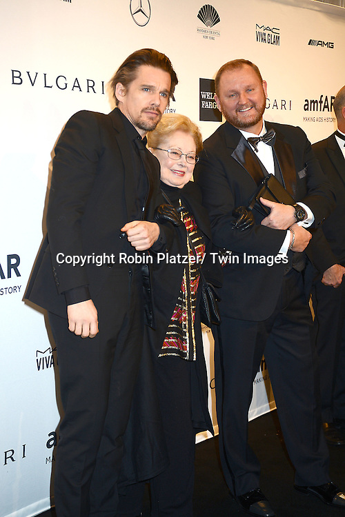 Ethan Hawke, Dr Krim and Kevin Robert Frost attends the amfAR New York Gala on February 5, 2014 at Cipriani Wall Street in New York City.
