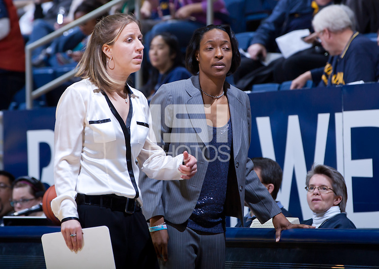 February 10th, 2013: California's coaches Lindsay Gottlieb and Charmin Smith conversing during a game against Arizona at Haas Pavilion in Berkeley, Ca.   California defeated Arizona 91 - 86