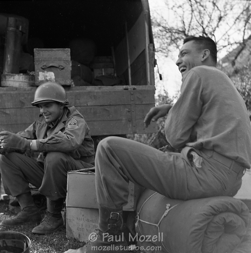 soldiers  laughing at the end of the war