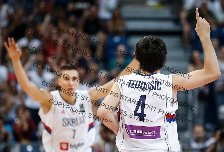 Kosarka FIBA Olympic Basketball Qualifying Tournament-FINAL<br /> Serbia v Puerto Rico<br /> Milos Teodosic (R) and Bogdan Bogdanovic<br /> Beograd, 09.07.2016.<br /> foto: Srdjan Stevanovic/Starsportphoto&copy;