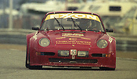 The #25 Porsche 911 of Anthony Lazzaro , Gerry Jackson, Peter Fuacetta, Angello Cilli, and P.J. Jones races to a 37th place finish in the 24 Hours of Daytona, IMSA race, Daytona International Speedway, Daytona Beach , FL, February 4, 1996.  (Photo by Brian Cleary/www.bcpix.com)