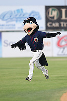 Lancaster JetHawks mascot Kaboom during a game against the Lake Elsinore Storm at The Hanger on August 2, 2014 in Lancaster, California. Lake Elsinore defeated Lancaster, 5-1. (Larry Goren/Four Seam Images)
