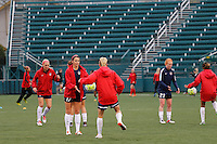 Rochester, NY - Friday April 29, 2016: The Washington Spirit  including Cali Farquharson (17) warm up. The Washington Spirit defeated the Western New York Flash 3-0 during a National Women's Soccer League (NWSL) match at Sahlen's Stadium.