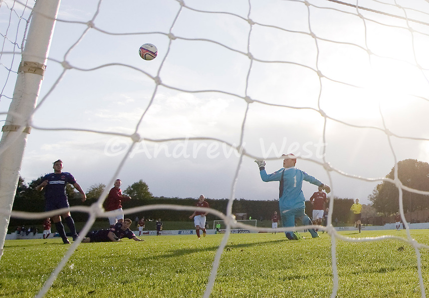 WILLIAM HILL SCOTTISH CUP<br /> LINLITHGOW 5-1 DEALBEATTIE STAR<br /> Linlithgow forward Colin Strickland(far left) slams the ball home to put hsi side 4-1 ahead