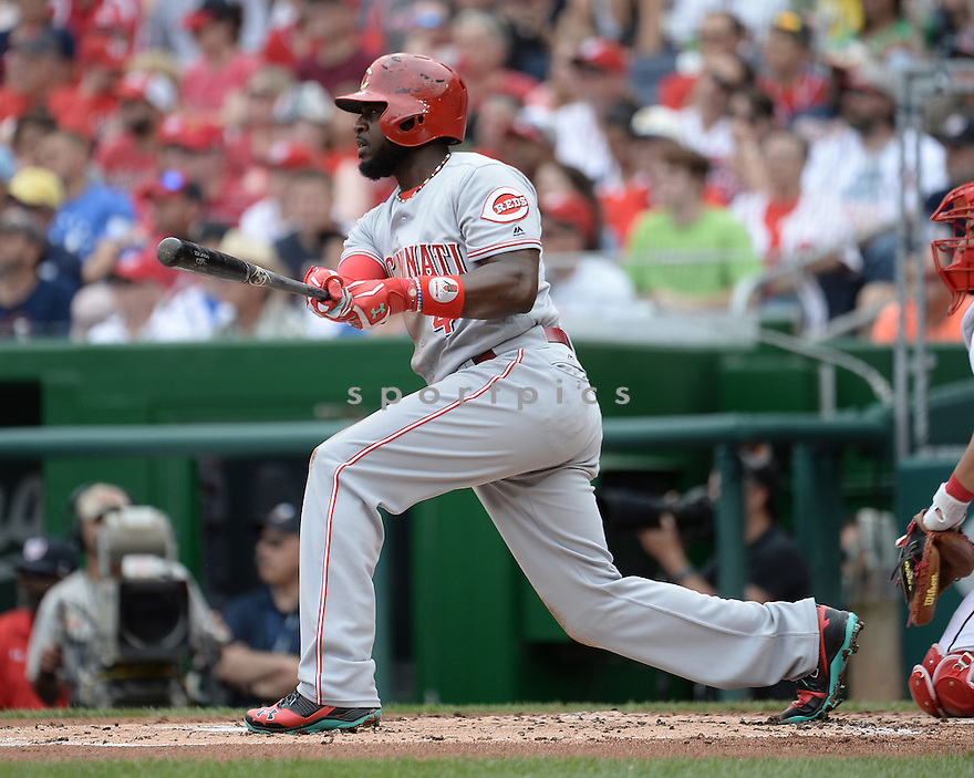 Cincinnati Reds Brandon Phillips (4) during a game against the Washington Nationals on July 3, 2016 at Nationals Park in Washington DC. The Nationals beat the Reds 12-1.