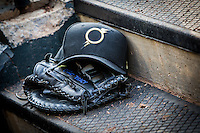 Omaha Storm Chasers hat and glove during the Pacific Coast League game against the Oklahoma City RedHawks at Chickashaw Bricktown Ballpark on June 23, 2013 in Oklahoma City ,Oklahoma.  (William Purnell/Four Seam Images)
