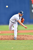 Asheville Tourists pitcher Eric Hepple (19) delivers a pitch during a game against the Augusta GreenJackets at McCormick Field on April 7, 2019 in Asheville, North Carolina. The GreenJackets  defeated the Tourists 11-2. (Tony Farlow/Four Seam Images)