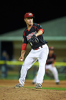 Batavia Muckdogs pitcher Steven Farnworth (55) delivers a pitch during a game against the Mahoning Valley Scrappers on July 3, 2015 at Dwyer Stadium in Batavia, New York.  Batavia defeated Mahoning Valley 7-4.  (Mike Janes/Four Seam Images)