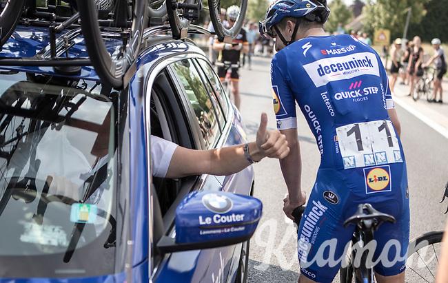 race winner Alvaro Hodeg (COL/Deceuninck Quick Step) congratulated by Wilfried Peeters. <br /> <br /> Heistse Pijl 2019<br /> One Day Race: Turnhout > Heist-op-den-Berg 194km (UCI 1.1)<br /> ©kramon