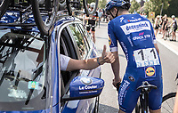 race winner Alvaro Hodeg (COL/Deceuninck Quick Step) congratulated by Wilfried Peeters. <br /> <br /> Heistse Pijl 2019<br /> One Day Race: Turnhout > Heist-op-den-Berg 194km (UCI 1.1)<br /> ©kramon