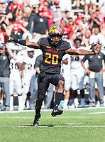 College Park, MD - SEPT 23, 2017: Maryland Terrapins defensive back Antwaine Richardson (20) celebrates a big defensive stop during game between Maryland and UCF at Capital One Field at Maryland Stadium in College Park, MD. (Photo by Phil Peters/Media Images International)