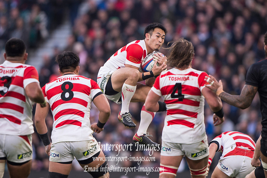 Twickenham, United Kingdom, Saturday, 17th  November 2018, RFU, Rugby, Stadium, England, Kenki FUKUOKA, collects the high ball, during the,  Quilter Autumn International, England vs Japan, © Peter Spurrier