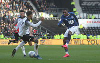 Blackburn Rovers Amari'i Bell gets a shot on goal<br /> <br /> Photographer Mick Walker/CameraSport<br /> <br /> The EFL Sky Bet Championship - Derby County v Blackburn Rovers - Sunday 8th March 2020  - Pride Park - Derby<br /> <br /> World Copyright © 2020 CameraSport. All rights reserved. 43 Linden Ave. Countesthorpe. Leicester. England. LE8 5PG - Tel: +44 (0) 116 277 4147 - admin@camerasport.com - www.camerasport.com