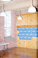 Campaign signs are seen in the press file room after Elizabeth Warren announced her candidacy for the 2020 presidential election at Everett Mills, site of the 1912 Bread and Roses strike, in Lawrence, Massachusetts, USA, on Sat., Feb. 9, 2019.