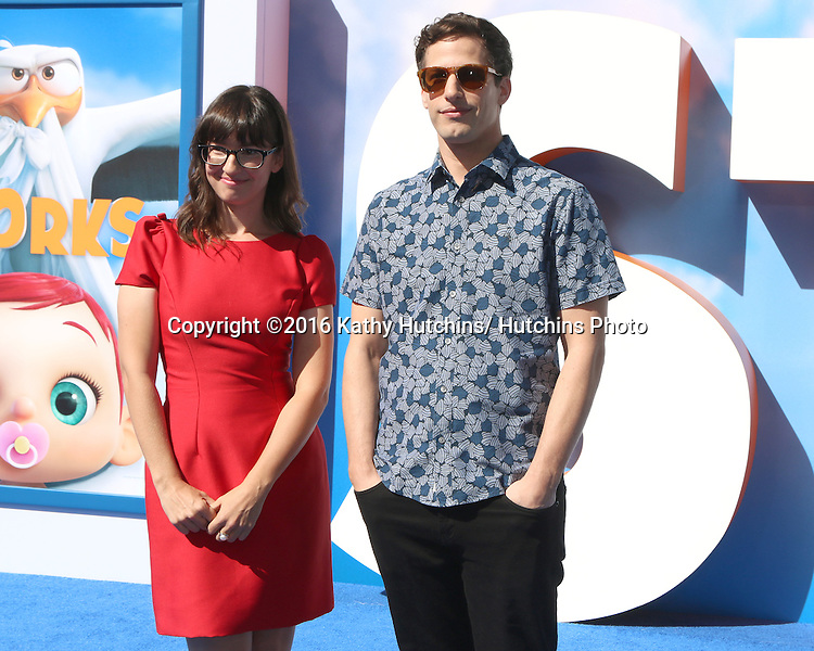 """LOS ANGELES - SEP 17:  Katie Crown, Andy Samberg at the """"Storks"""" Premiere at the Village Theater on September 17, 2016 in Westwood, CA"""