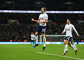 9th December 2017, Wembley Stadium, London England; EPL Premier League football, Tottenham Hotspur versus Stoke City; Harry Kane of Tottenham Hotspur celebrates after scoring his sides 3rd goal to make it 3-0 with Son Heung-Min of Tottenham Hotspur