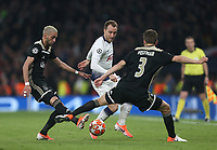 Tottenham Hotspur's Christian Eriksen gets in between Ajax pair Joel Veltman and Hakim Siyech<br /> <br /> Photographer Rob Newell/CameraSport<br /> <br /> UEFA Champions League - Tottenham Hotspur v Ajax - Tuesday 30th April 2019 - White Hart Lane - London<br />  <br /> World Copyright © 2018 CameraSport. All rights reserved. 43 Linden Ave. Countesthorpe. Leicester. England. LE8 5PG - Tel: +44 (0) 116 277 4147 - admin@camerasport.com - www.camerasport.com