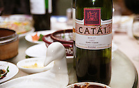 In a Beijing restaurant: Catai Merlot 2002 by Sella & Mosca (Qingdao) Winery Co Ltd Beijing, China, Asia