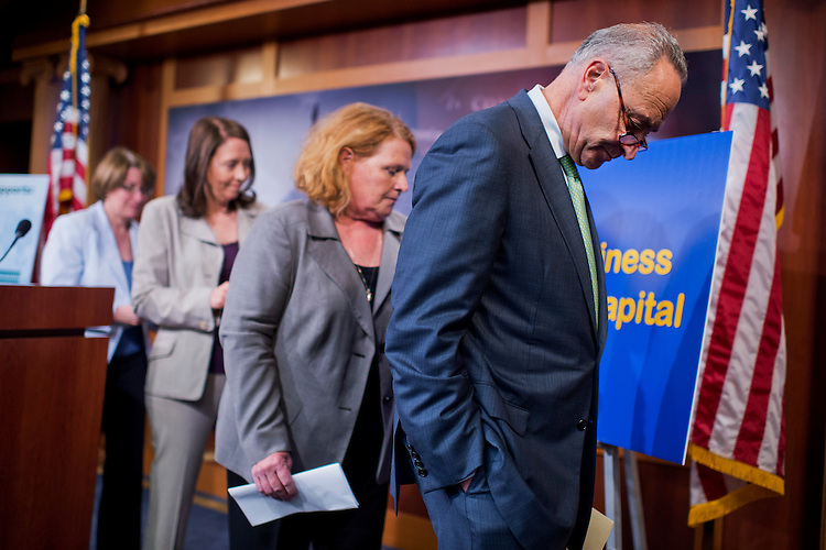 UNITED STATES - JUNE 11: From left, Sens. Amy Klobuchar, D-Minn., Maria Cantwell, D-Wash., Heidi Heitkamp, D-N.D., and Charles Schumer, D-N.Y., conclude a news conference in the Capitol on the Export-Import Bank bill, June 11, 2015. (Photo By Tom Williams/CQ Roll Call)