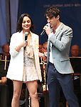 Vanessa Hudgens and Darren Criss performing at United presents 'Stars in the Alley' in  Shubert Alley on May 27, 2015 in New York City.
