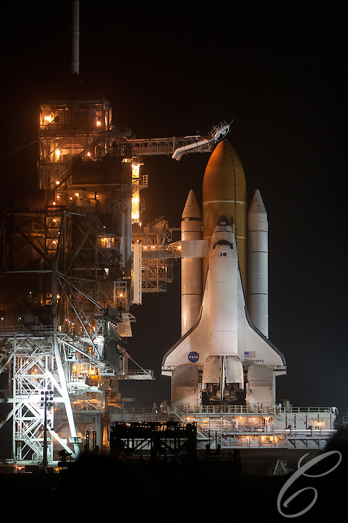 Space Shuttle Discovery takes of from the Kennedy Space Center for the final time on February 24, 2011.  Discovery's mission takes it to the International Space Station (ISS) to deliver the PIM module and Robonaut 2.