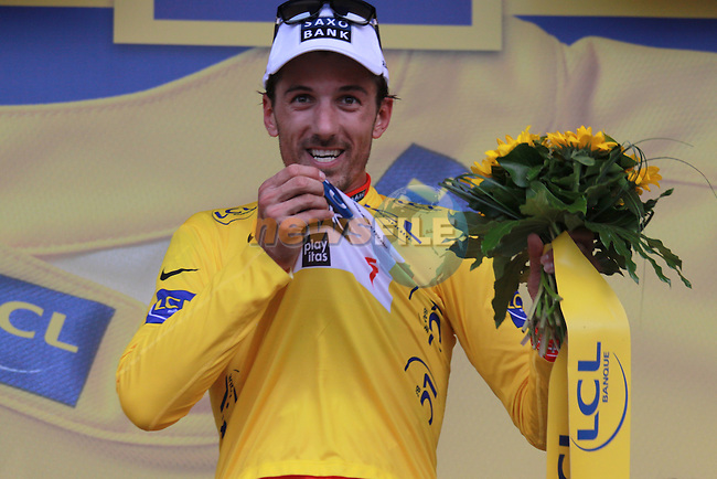 Fabian Cancellara in the yellow jersey after winning the first stage prologue in the 2009 Tour de France, 4th July 2009 (Photo by Manus OReilly/NEWSFILE)