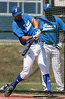 20 july 2010: Jerome Rousseau of Team France is seen at bat during a practice prior to the 2010 European Championship Seniors, in Neuenburg, Germany.