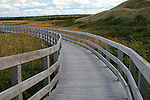 Images of The Canadian Maritime Provinces of Nova Scotia and Prince Edward Island. Boardwalk and sand dunes of Brackley beach in Prince Edward National Park.