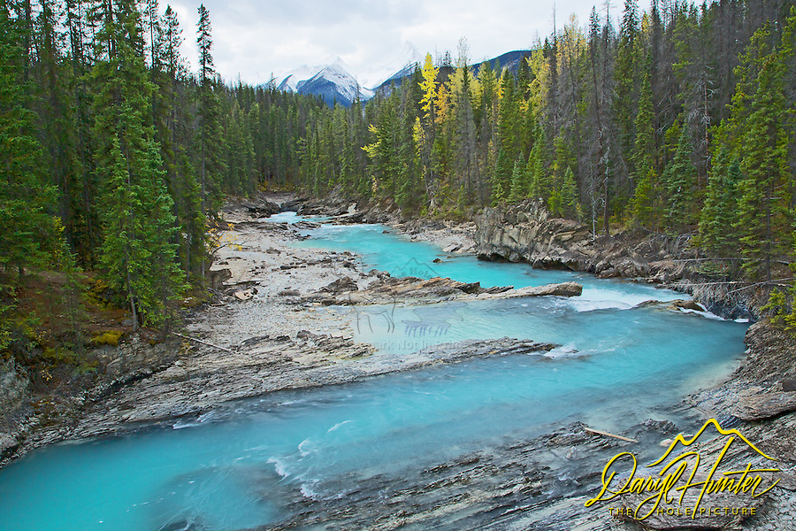 Kicking Horse River, Yoho National Park. The river was named in 1858, when James Hector, a member of the Palliser Expedition, was kicked by his packhorse while exploring the river. Hector survived and named the river and the associated pass as a result of the incident.