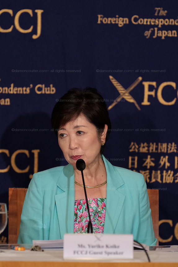 Yuriko Koike, a politician with the ruling Liberal Democratic Party (LDP) gives a press conference at the Foreign Correspondents Club of Japan to outline her plans as a prospective Gubernatorial candidate in the up-coming election for Tokyo Governor. FCCJ, Yurakucho, Tokyo, Japan. Friday July 8th 2016 Ms Koike is not the official LDP candidate and appears not to have the support of the Prime Minister, Shinzo Abe. The election was called after the resignation of the scandal-tainted former Governor,Yoichi Mazuzoe