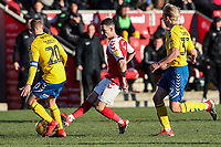 Fleetwood Town's Jason Holt competing with Charlton Athletic's Chris Solly and George Lapslie<br /> <br /> Photographer Andrew Kearns/CameraSport<br /> <br /> The EFL Sky Bet League One - Fleetwood Town v Charlton Athletic - Saturday 2nd February 2019 - Highbury Stadium - Fleetwood<br /> <br /> World Copyright © 2019 CameraSport. All rights reserved. 43 Linden Ave. Countesthorpe. Leicester. England. LE8 5PG - Tel: +44 (0) 116 277 4147 - admin@camerasport.com - www.camerasport.com