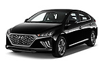 2020 Hyundai Ioniq-Plug-In-Hybrid Shine 5 Door Hatchback Angular Front automotive stock photos of front three quarter view