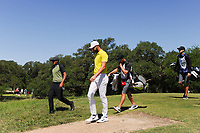 Kevin Tway (USA) and Tony Finau (USA) depart the second tee box during round 4 of the Valero Texas Open, AT&amp;T Oaks Course, TPC San Antonio, San Antonio, Texas, USA. 4/23/2017.<br /> Picture: Golffile | Ken Murray<br /> <br /> <br /> All photo usage must carry mandatory copyright credit (&copy; Golffile | Ken Murray)