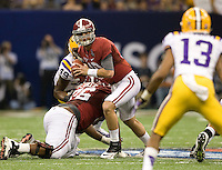 Alabama quarterback AJ McCarron in action during BCS National Championship game against LSU at Mercedes-Benz Superdome in New Orleans, Louisiana on January 9th, 2012.   Alabama defeated LSU, 21-0.