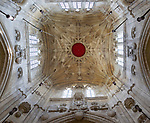 A beautiful network of lierne vaulting ribs in the tower roof ceiling lantern, Cricklade church, Wiltshire, England, UK