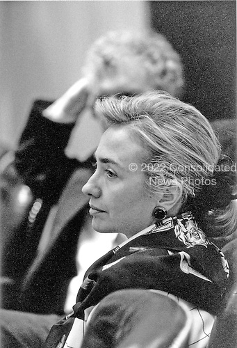 Washington, DC - (FILE) -- First lady Hillary Rodham Clinton attends a meeting of the United States House of Representatives Ways and Means Committee on health care in .Washington, D.C. on Wednesday, April 14, 1993..Credit: White House via CNP