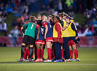 Boyds, MD - April 16, 2016: Washington Spirit huddle after the match. The Washington Spirit defeated the Boston Breakers 1-0 during their National Women's Soccer League (NWSL) match at the Maryland SoccerPlex.