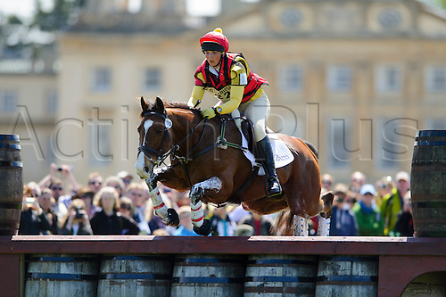 05.05.2013 Badminton, England. Sarah Stretton on Skip On in action at the Wadworth Barrels during the Cross Country Test of the Mitsubishi Motors Badminton Horse Trials 2013 in the grounds of Badminton House.