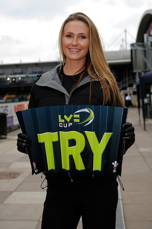 20130317 Copyright onEdition 2013©.Free for editorial use image, please credit: onEdition..LV= promo staff hand out TRY clap banners during the LV= Cup Final between Harlequins and Sale Sharks at Sixways Stadium on Sunday 17th March 2013 (Photo by Rob Munro)..For press contacts contact: Sam Feasey at brandRapport on M: +44 (0)7717 757114 E: SFeasey@brand-rapport.com..If you require a higher resolution image or you have any other onEdition photographic enquiries, please contact onEdition on 0845 900 2 900 or email info@onEdition.com.This image is copyright onEdition 2013©..This image has been supplied by onEdition and must be credited onEdition. The author is asserting his full Moral rights in relation to the publication of this image. Rights for onward transmission of any image or file is not granted or implied. Changing or deleting Copyright information is illegal as specified in the Copyright, Design and Patents Act 1988. If you are in any way unsure of your right to publish this image please contact onEdition on 0845 900 2 900 or email info@onEdition.com
