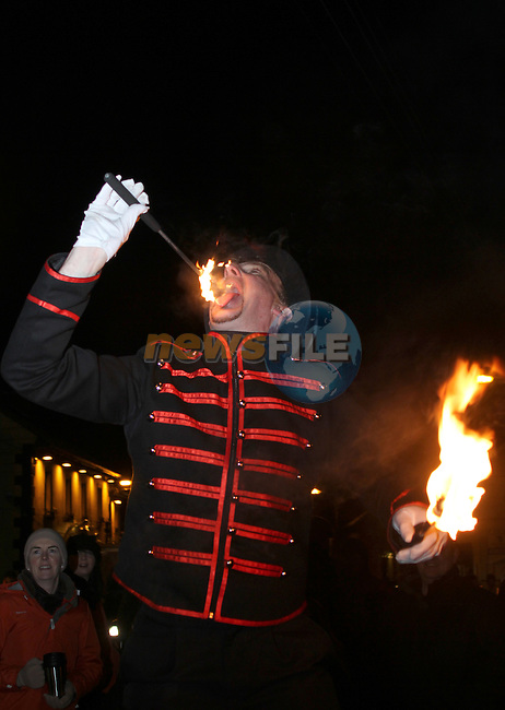 William at the Arrival of Santa and the turning on of the Christmas Lights in Dunleer...(Photo credit should read Jenny Matthews www.newsfile.ie)....This Picture has been sent you under the conditions enclosed by:.Newsfile Ltd..The Studio,.Millmount Abbey,.Drogheda,.Co Meath..Ireland..Tel: +353(0)41-9871240.Fax: +353(0)41-9871260.GSM: +353(0)86-2500958.email: pictures@newsfile.ie.www.newsfile.ie.