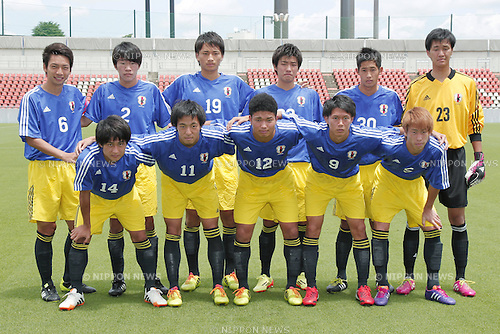 U19U19 Japan team group line up,<br /> JULY 1, 2014 - Football / Soccer : <br /> Training match between U-19 Japan 1-2 Omiya Ardija<br /> at NACK5 Stadium Omiya, Saitama, Japan. <br /> (Photo by SHINGO ITO/AFLO SPORT)