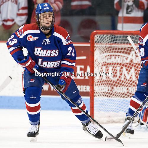 Scott Wilson (UML - 23) - The visiting University of Massachusetts Lowell River Hawks defeated the Boston University Terriers 3-0 on Friday, February 22, 2013, at Agganis Arena in Boston, Massachusetts.